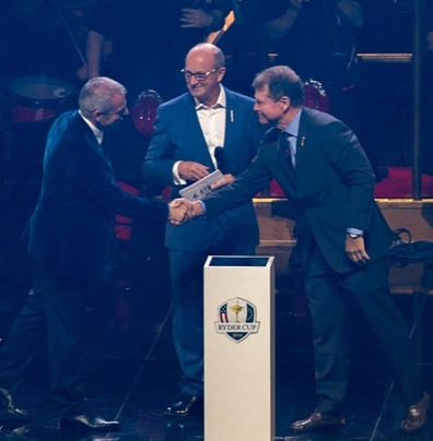 The Ryder Cup Captains shake hands. Photo courtesy of DF Concerts