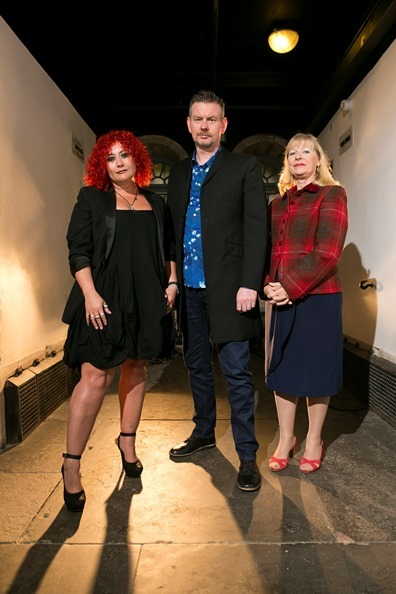 Crime writers Danielle Ramsay, John Gordon Sinclair and Alex Gray at the Bloody Scotland launch in Stirling's Old Town Jail