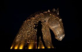 The Kelpies glow gold for The Ryder Cup 2014