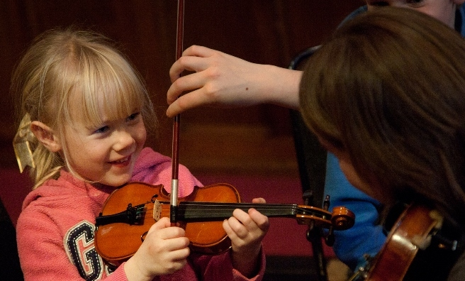 A come and try session at the Scots Fiddle Festival. Photo copyright Ros Gassons