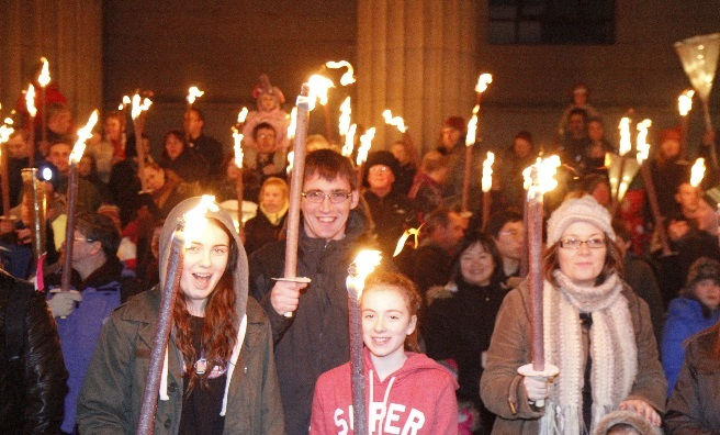 The torchlight parade at Dundee Night Light