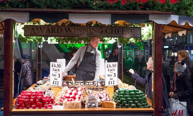 Scottish Food Market during Edinburgh's Christmas Celebrations. Photo by Fraser Cameron, copyright Underbelly