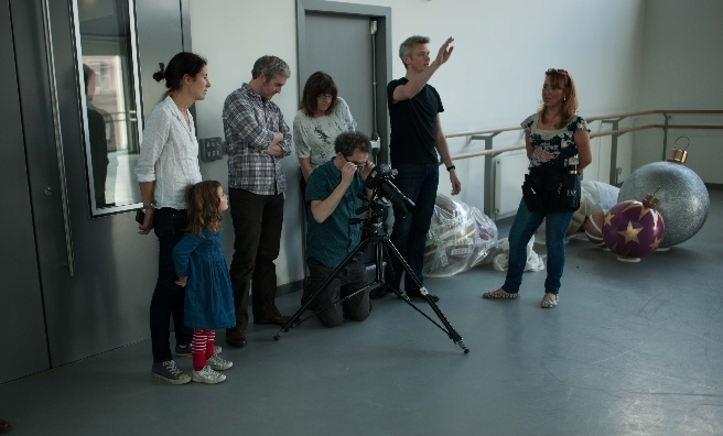 Members of the Scots Magazine and Scottish Ballet, with make-up artist Linda Wilson, look on as our photographer Martin McCreadie captures Sophie and Chris on film. Photo by Upfront Photography