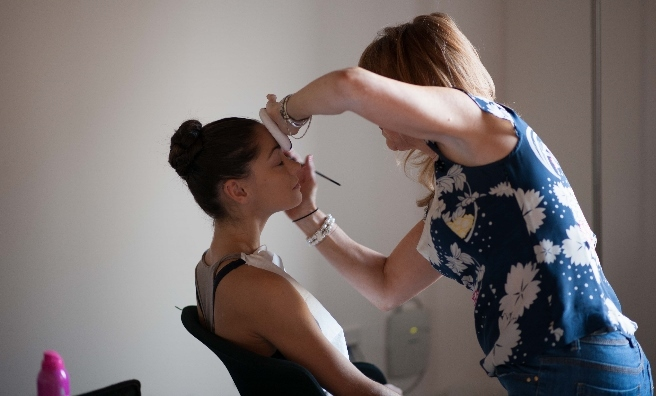 Make-up artist Linda Wilson applies Sophie's make-up for the Scots Magazine's photoshoot. Photo by Upfront Photography