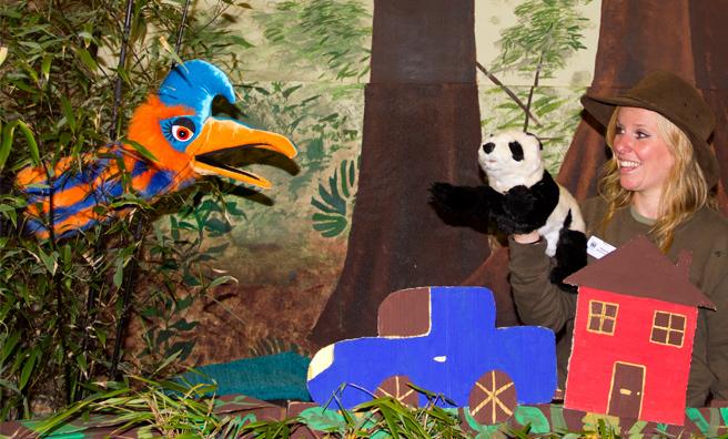 Cheryl Anne at Edinburgh Zoo performs the panda storytelling show