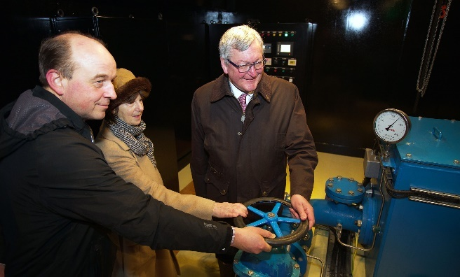 Andrew Bruce-Wootton, General Manager, Atholl Estates; Fergus Ewing MSP and Sarah Troughton in Blair Castle's power house.