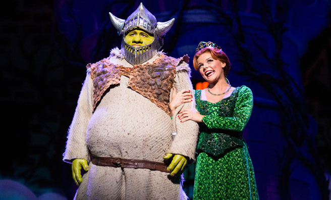 Dean Chisnall (Shrek) and Faye Brookes (Princess Fiona). Image by Helen Maybanks