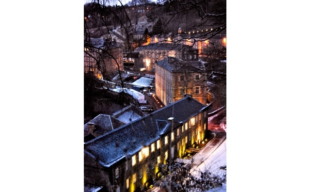 New Lanark snow and lights. By Jamie Marzella