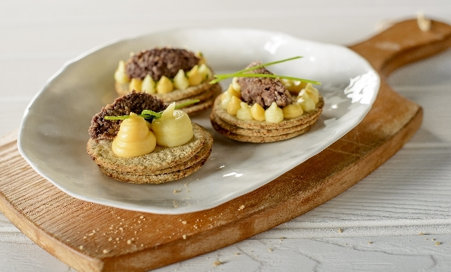 Haggis, neeps and tatties on oatcakes