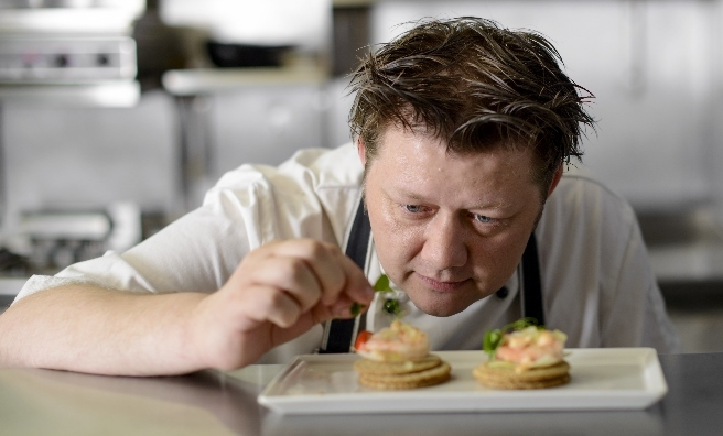 Chef Mark Greenaway adds the finishing touches to his oatcakes