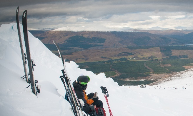 Admiring the view at Nevis Range. Image copyright Ski-Scotland and Steven McKenna Photography