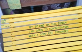 The Yellow Bench that sits outside the Yellow Bench Café