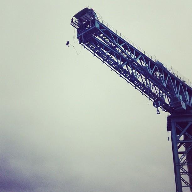 The Titan Crane bungee jump at Glasgow's Clydebank