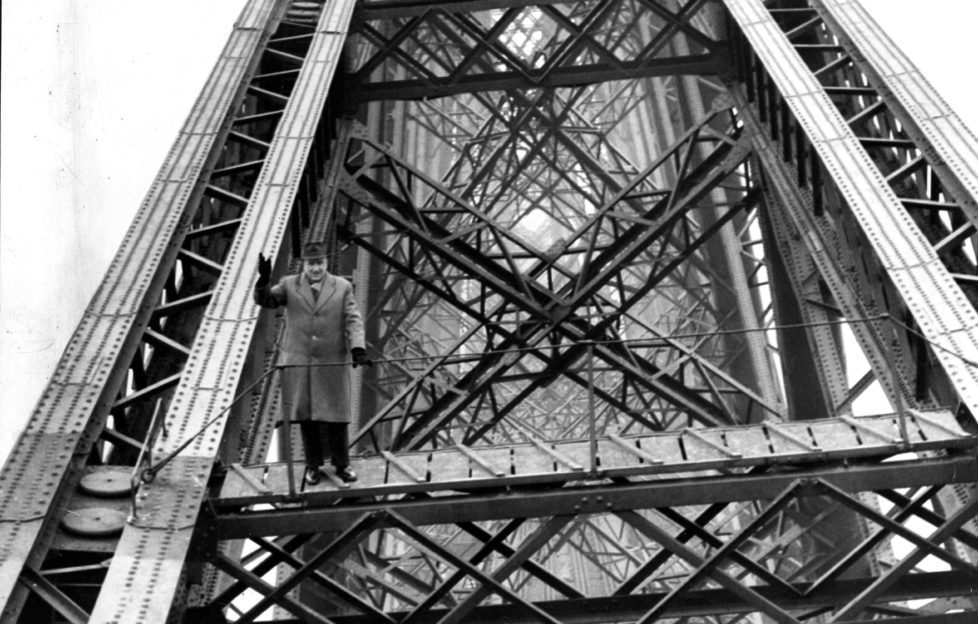 Alexander Beattie, Bridge Inspector, saying one last goodbye before his retirement in 1965
