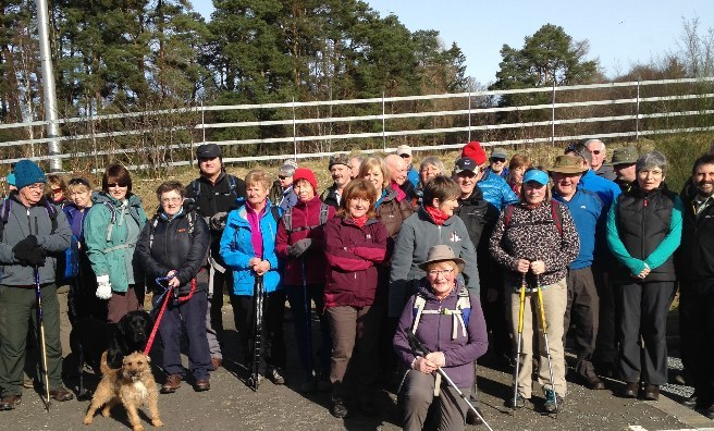 The Scots Mag's 45 Take A Hike walkers - and a few four legged friends - prepare to set off on a ten mile trek along Glen Tilt