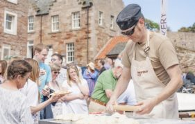 A food demo at the harbour during Crail Food Festival