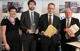 The presentation of the 2014 Book of the Year awards: (left to right) Jenny Niven, Creative Scotland, Richard McKean, son of the late Professor Charles McKean, Professor Bob Harris and Ian Campbell, Convenor of the 2014 Literary Awards panel