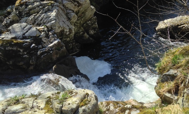 Gracie's Linn - the spot on the River Tarf where the afore-mentioned lady slipped as she crossed the waterfall and drowned in the pool below.