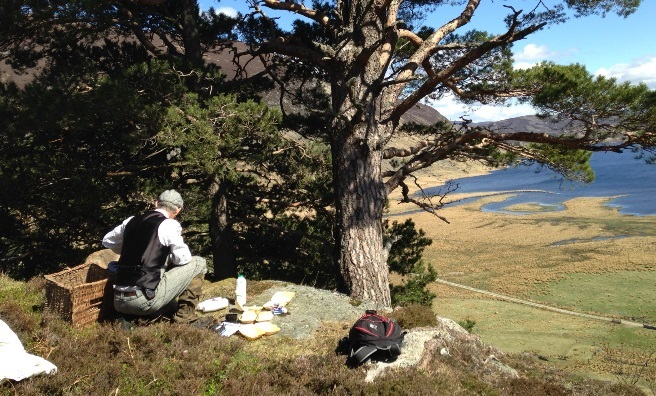 Andy prepares our morning cuppie, high on a crag overlooking Loch Lee