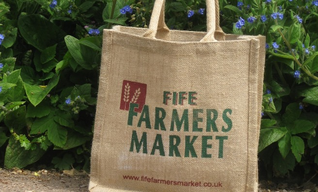 Bags of fresh, seasonal goodes at the Farmers Market in St Andrews