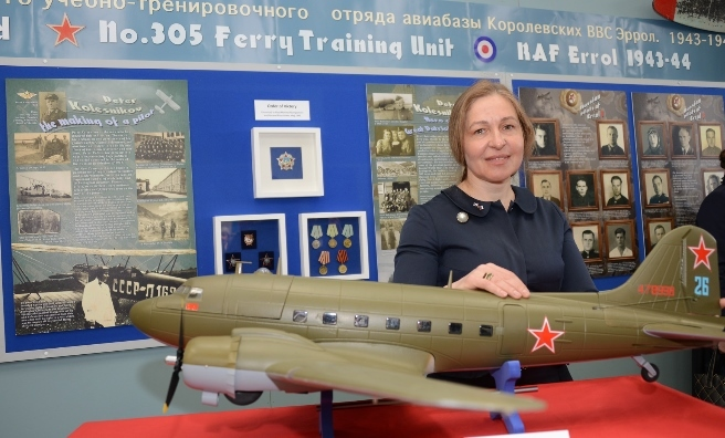 Anna Belorusova at the opening of The Russians Are Coming Exhibition at Montrose Air Station Heritage Centre. Photo by Neil Werninck