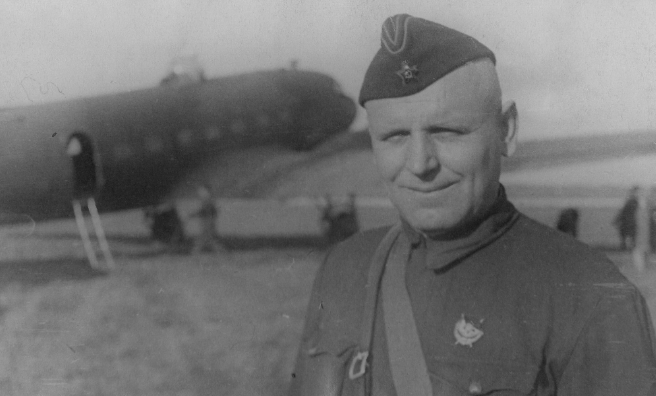 Anna's grandfather, Commander Peter Kolesnikov of the 10th Guards Air Division.