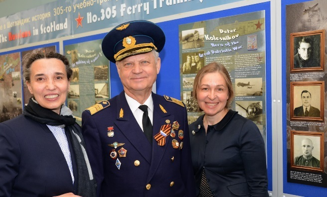 Elena Nikitina, Head of Vnukovo Air Museum, Moscow; Alexei Timofeev, former head of Moscow's Vnukovo Airport; Anna Belorusova