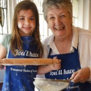 Darcey Burnham (7) from Troon with Shirley at the launch of Treasured Tastes of Scotland.