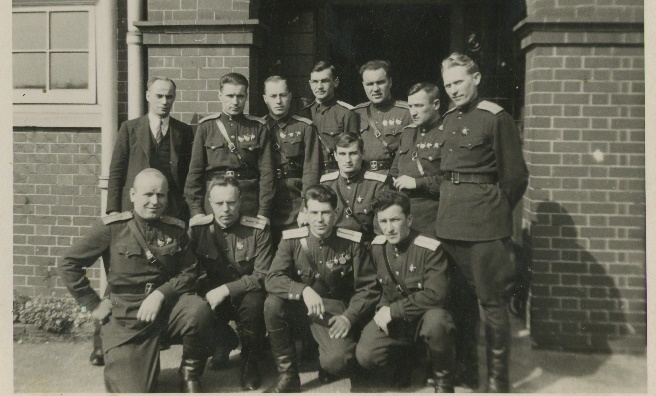 A group of the Soviet airmen during their top secret training mission to Scotland