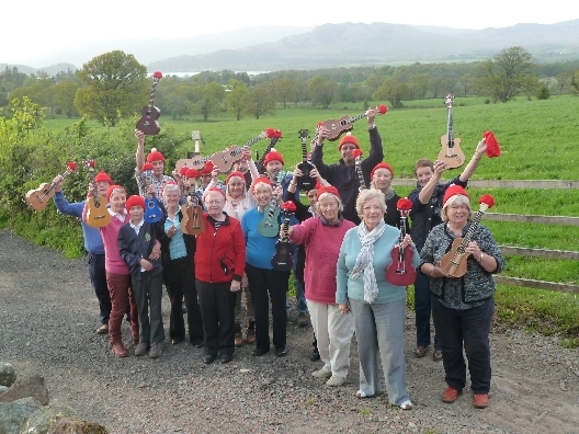 Members of the Loch Lomond Ukulele Orchestra prepare for Weirfest
