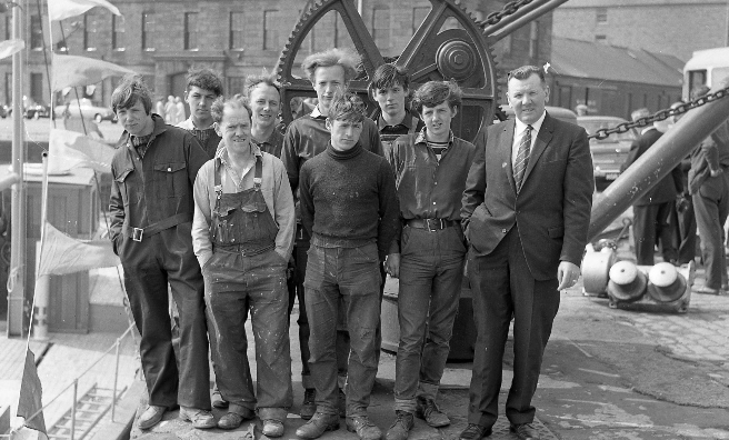 Employees of Angus shipbuilders Arbuthnot & Son at Montrose Harbour in 1967. Photo courtesy of Angus Archives.