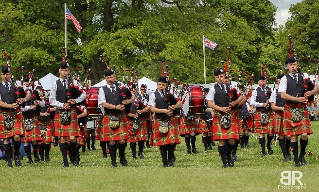 One of the Pipe Bands at Strathmore Highland Games. Photo by Barry Robb