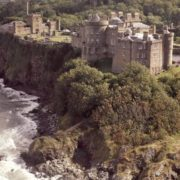 The waves crash onto the shore below Culzean Castle. Photo courtesy of National Trust for Scotland.