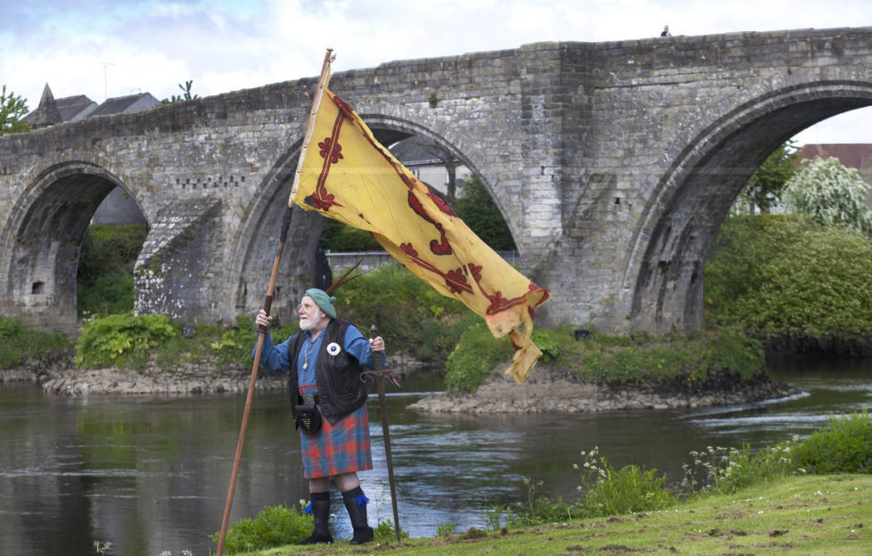 Eddie McNeill from the Wallace Society, stands beside the River Forth at Stirling Bridge. Pic: Drew Farell