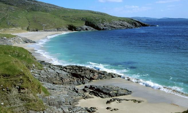 The stunning turquoise waters of Mingulay, Berneray and Pabbay. Photo courtesy of National Trust for Scotland.