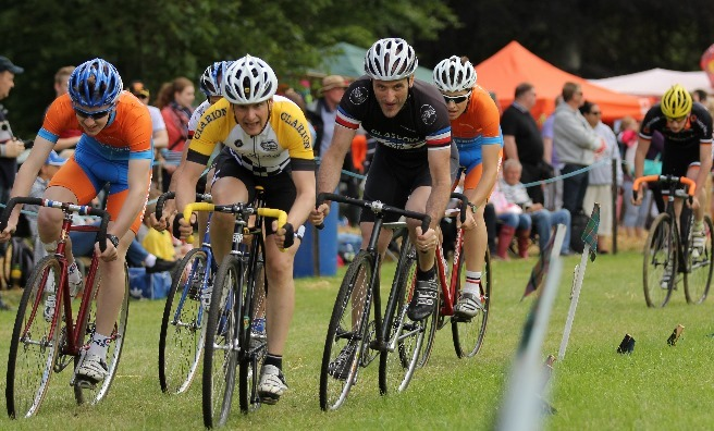 The cycling races at the Strathmore Highland Games are always hotly contested. Photo by Barry Robb.