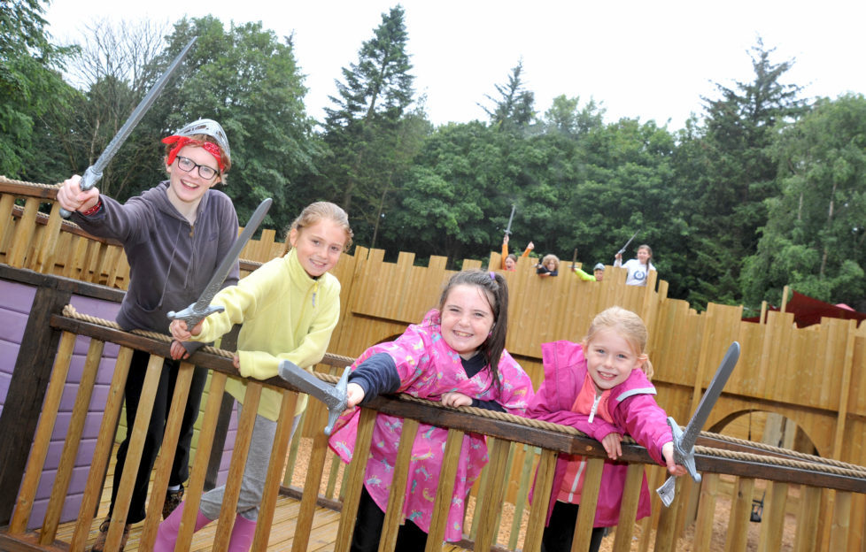 Megan Gilmour, Holly Prower, Louise Kerr & Chloe Caldwell at Adventure Cove play park. Image by Derek McCabe
