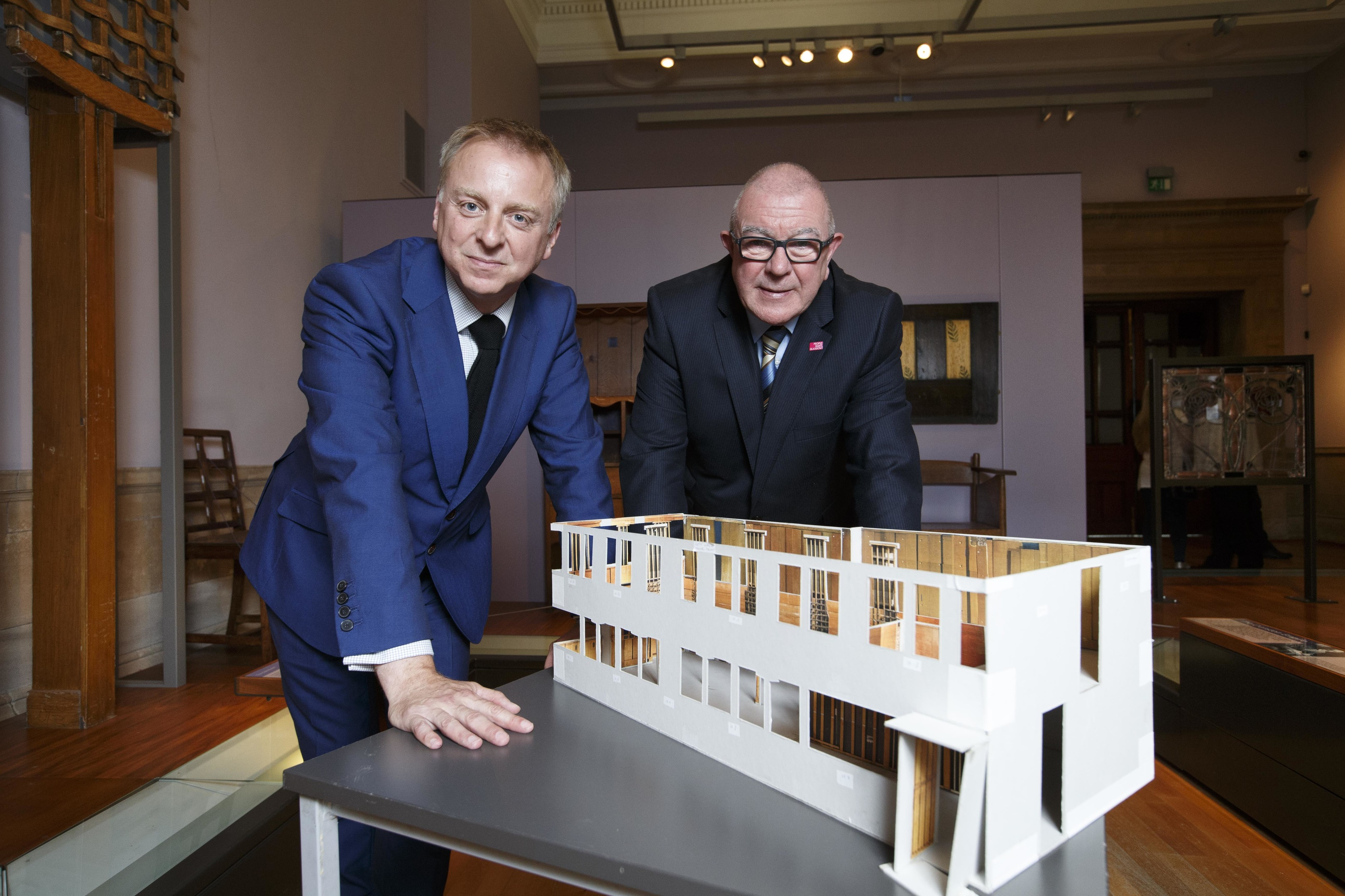 Philip Long, Director (V&A Dundee) and Councillor Archie Graham (Chair of Glasgow Life) view the scale model