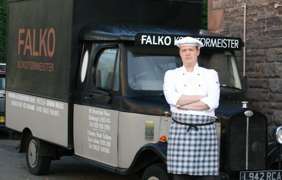 German-born Falko Burkert with his baker's van