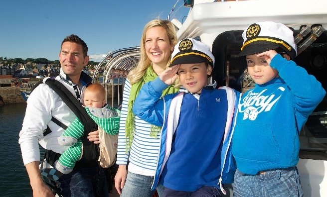 The Wharton family - the first passengers on board the Forth Ferry. Pic by Rob McDougall
