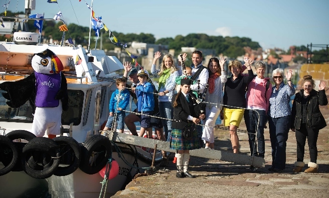 Passengers boarding the Forth Ferry for her maiden voyage from Anstruther to North Berwick. Photo by Rob McDougall