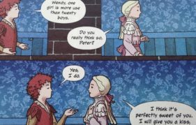 A scene from JM Barrie's Peter Pan; A Graphic Novel by Stevie White and Fin Cramb. Published by Birlinn