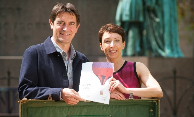 Book Festival Directors Nick Barley and Janet Smyth with the 2015 brochure. Photo courtesy of Edinburgh International Book Festival