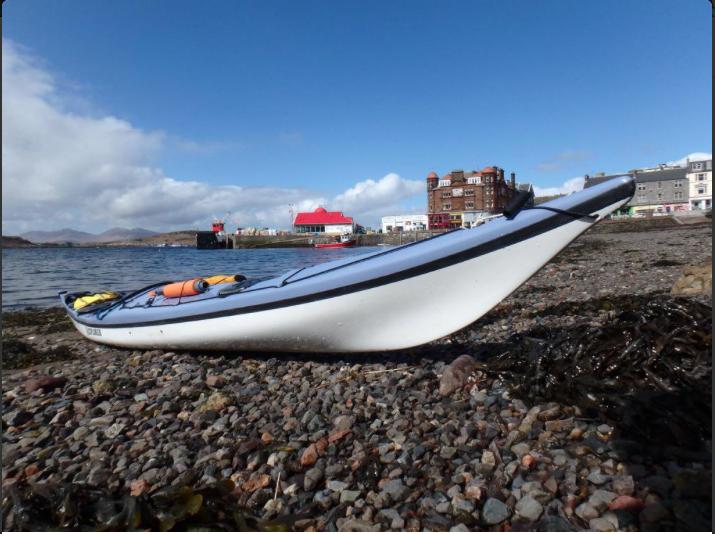 Nick's faithful kayak ashore in Oban