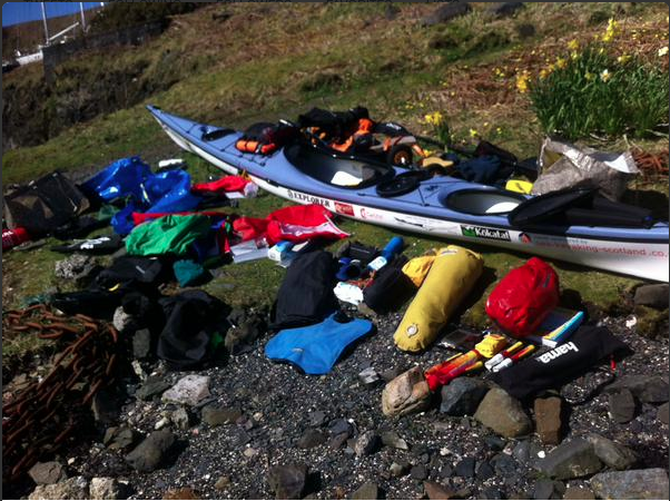 The contents of Nick's kayak! Sleeping bag, spare clothes, food...