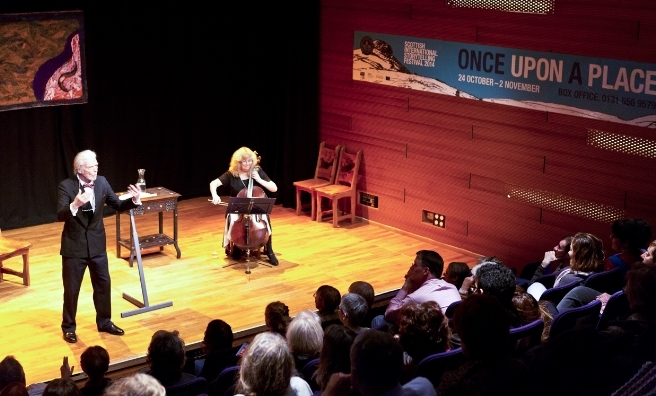 David Campbell and Wendy Weatherby share tales of Dylan Thomas in the Netherbow Theatre at a previous Scottish International Storytelling Festival. Photo by Solen Collet
