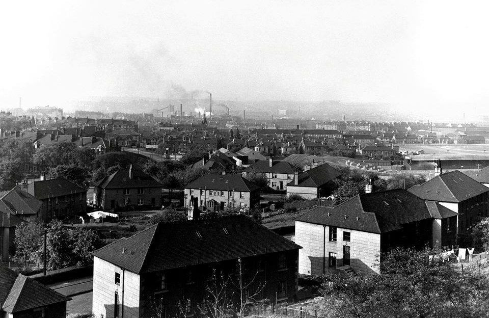 View across city, from Hampden Terrace, showing Dixon's Blazes ironworks and Third Lanark's Cathkin Park football ground