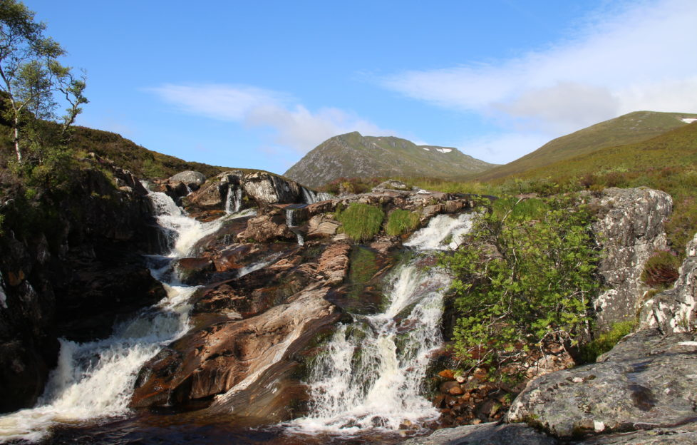 Waterfall on route to Tom a' Choinich in Glen Affric