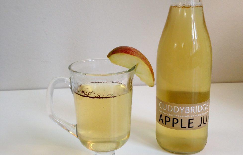 Cuddybridge Apple Juice with a glass of mulled apple