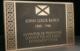 Commemorative plaque to John Logie Baird, inventor of television.